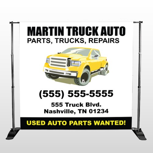 Black & Yellow Truck 117 Pocket Banner Stand