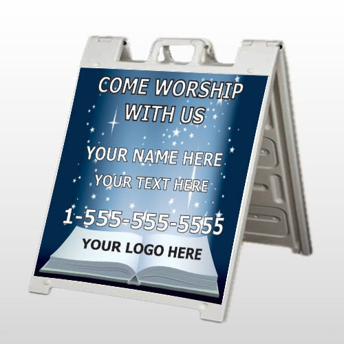 Worship With Us 02 A Frame Sign