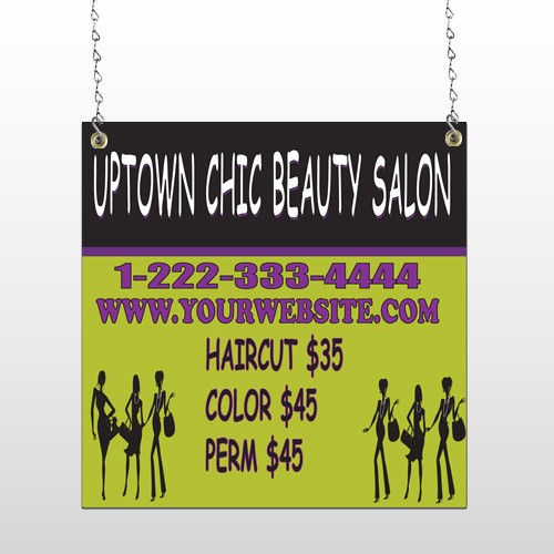 Uptown Salon 642 Window Sign