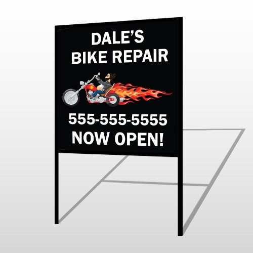Harley Flames 108 H-Frame Sign