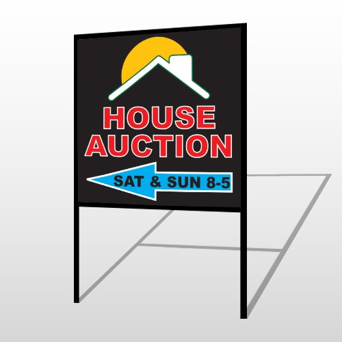 Auction Left Arrow 728 H-Frame Sign