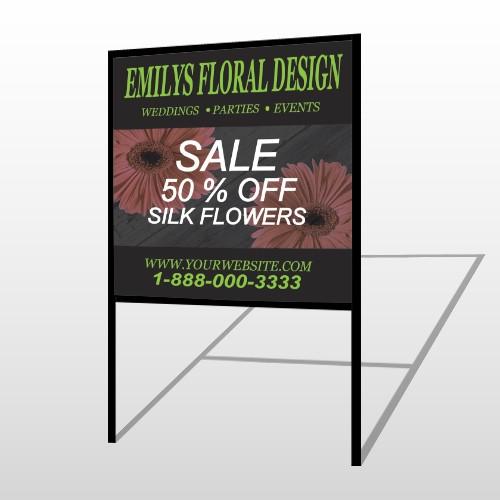 Black And Floral 496 H Frame Sign