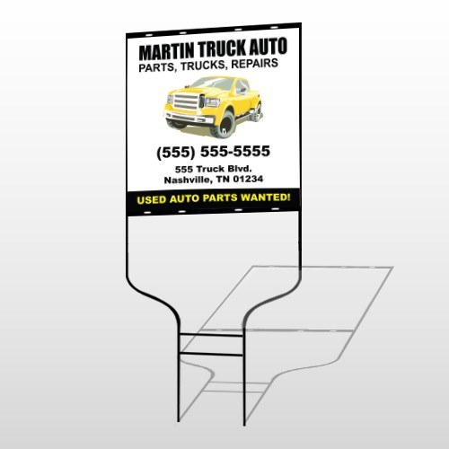 Black & Yellow Truck 117 Round Rod Sign