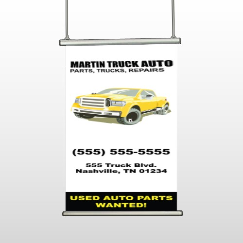 Black & Yellow Truck 117 Hanging Banner