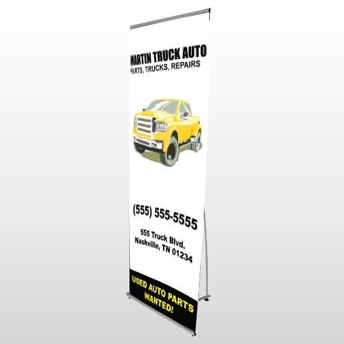 Black & Yellow Truck 117 Flex Banner Stand