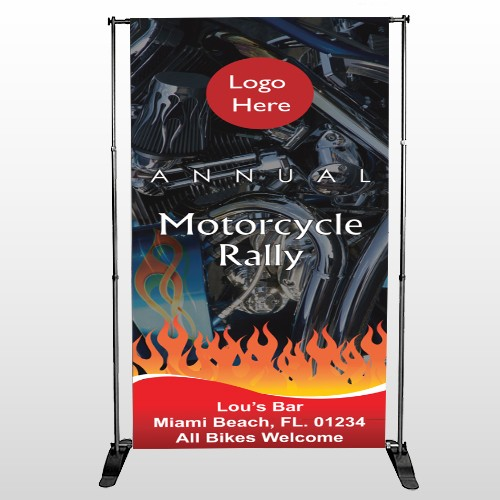 Motorcycle Flame 107 Pocket Banner Stand