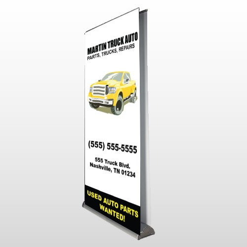 Black & Yellow Truck 117 Retractable Banner Stand