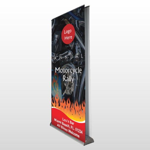 Motorcycle Flame 107 Retractable Banner Stand