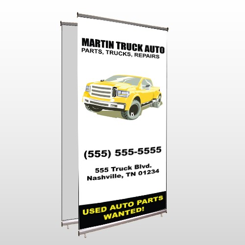 Black & Yellow Truck 117 Center Pole Banner Stand