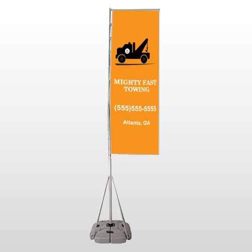 Mighty 128 Exterior Flag Banner Stand