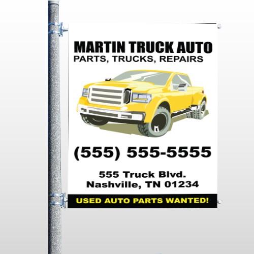Black & Yellow Truck 117 Pole Banner