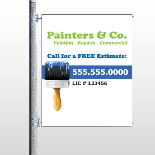 Blue Paint Brush 305 Pole Banner
