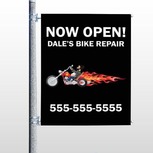 Harley Flames 323 Pole Banner