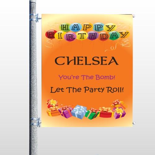 Birthday Dots 16 Pole Banner