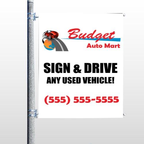 Budget Auto Mart 116 Pole Banner