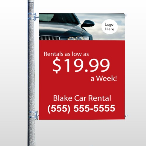Car Rental 112 Pole Banner