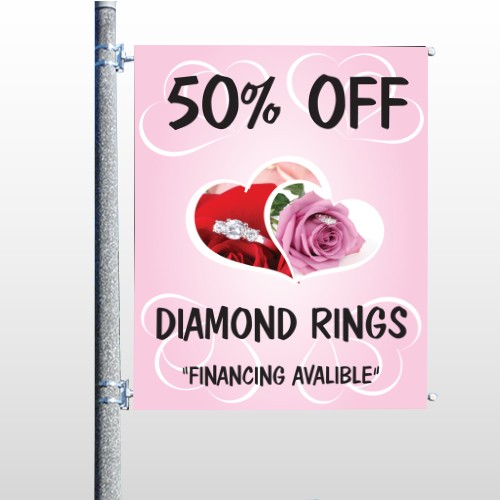 Pink Rose Hidden Ring 399 Pole Banner