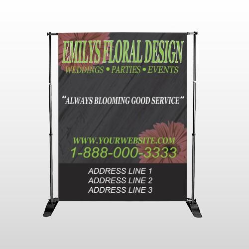 Black And Floral 496 Pocket Banner Stand