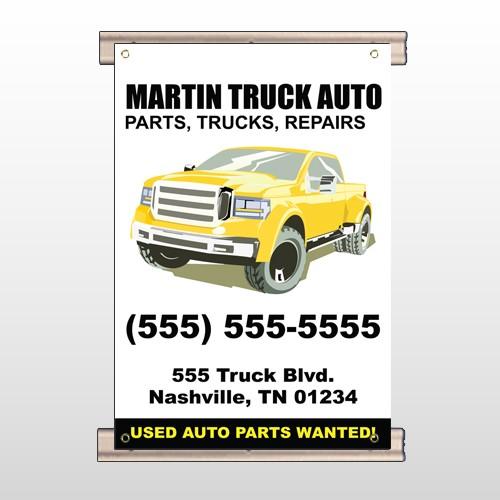Black & Yellow Truck 117 Track Banner
