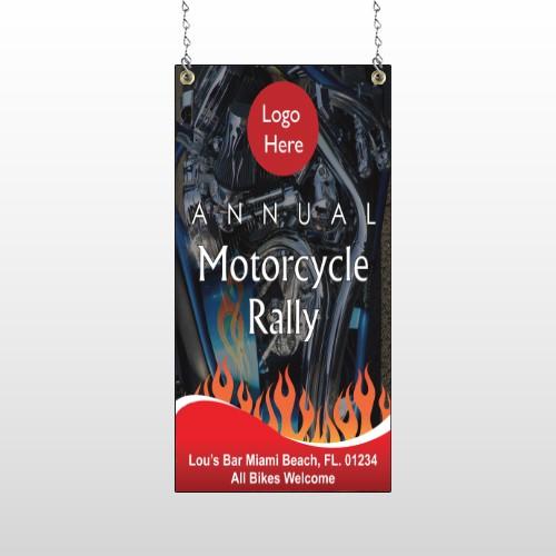 Motorcycle Flame 107 Window Sign