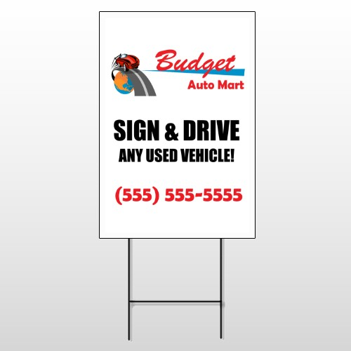 Budget Auto Mart 116 Wire Frame Sign