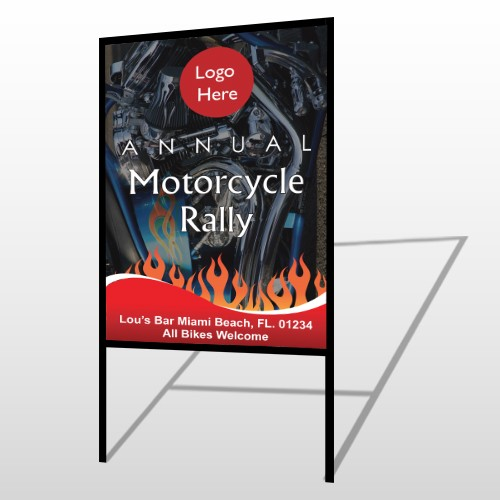 Motorcycle Flame 107 H-Frame Sign