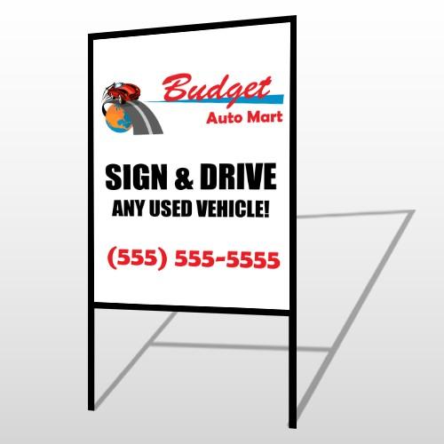 Budget Auto Mart 116 H Frame Sign