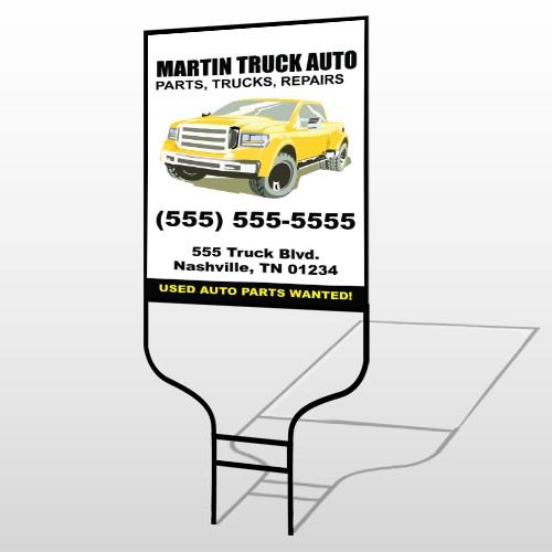 Black & Yellow Truck 117 Round Rod Sign