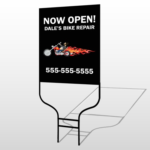 Harley Flames 323 Round Rod Sign