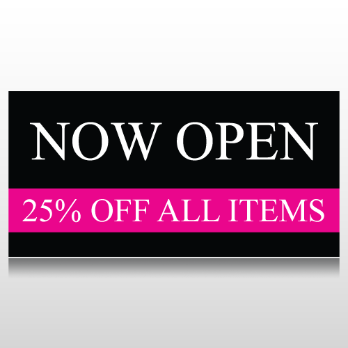 Black and Pink Now Open Store Sale Banner