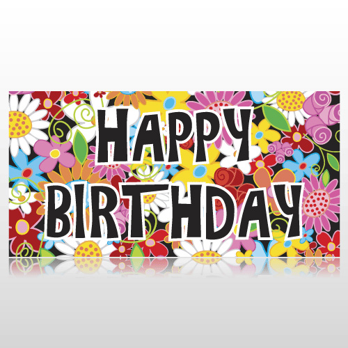 Colorful Flowers Birthday Banner