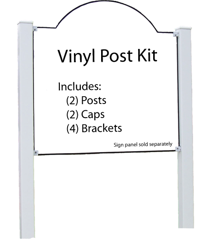 """Vinyl Post Kit with Brackets 4""""x4""""x96"""" for 1/2"""" Sign"""