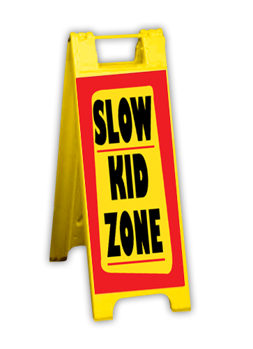 """A Frame and Rigid Sign Kit-Yellow 12""""W x 24""""H"""