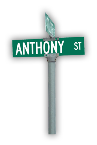 "Street Sign Kit- 8ft Rd Post & 2 Aluminum .080 Signs 6""H x 30""W Double Sided"