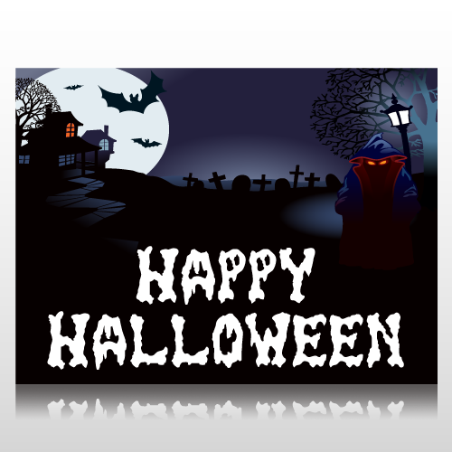 Happy Halloween Ghostly Scene Sign Panel