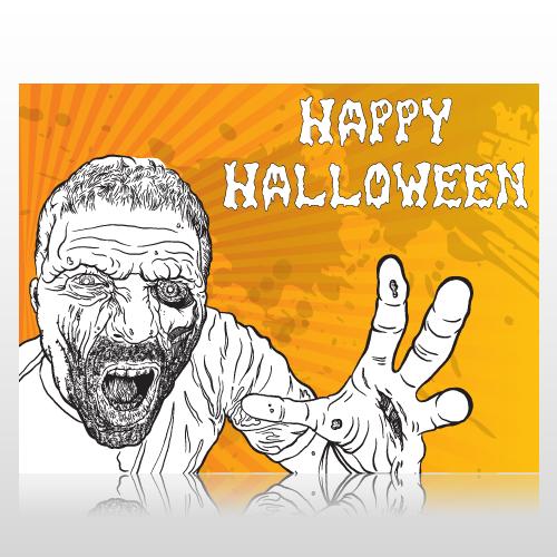Happy Halloween Zombie Sign Panel