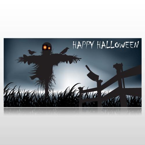 Happy Halloween Scarecrow Banner