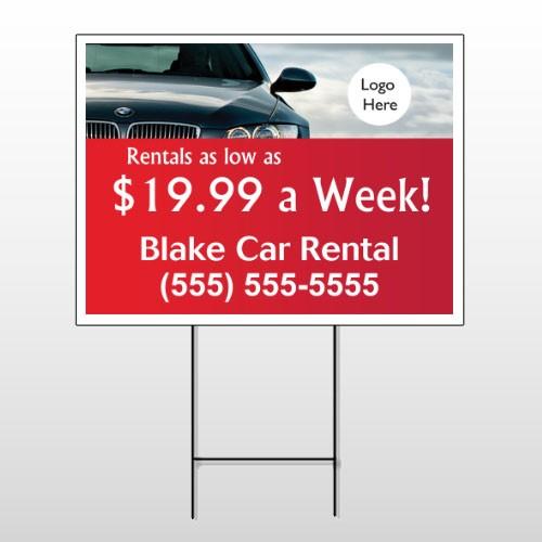 Car Rental 112 Wire Frame Sign