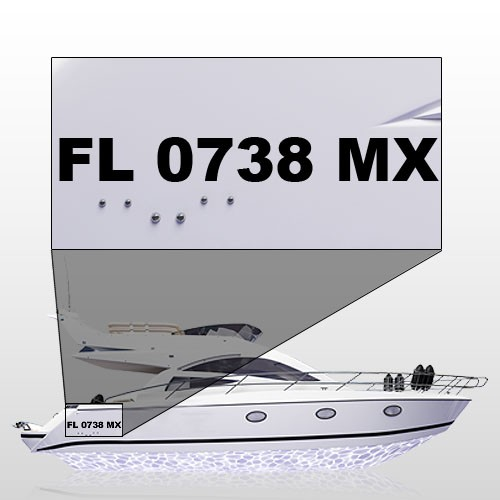 "Custom Boat Registration Numbers 3""H x 22""W"
