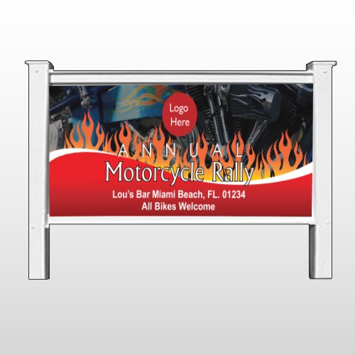"Motorcycle Flame 107 48""H x 96""W Site Sign"