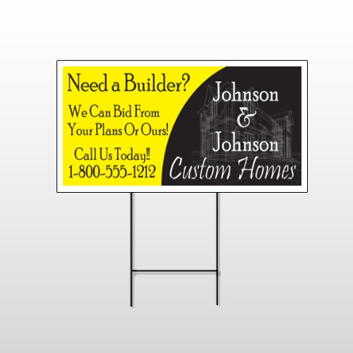 Yellow House Plan 216 Wire Frame Sign