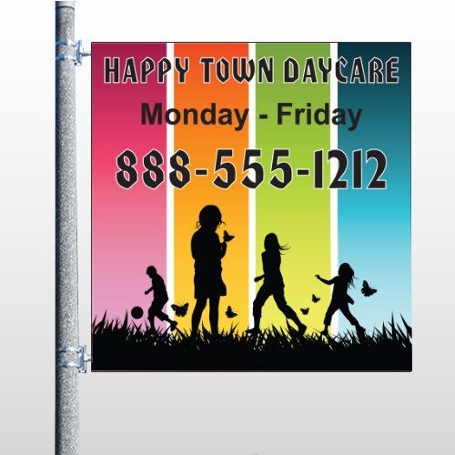 Happy Town 181 Pole Banner