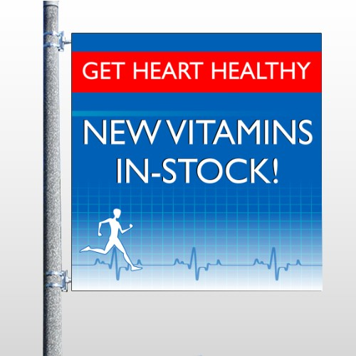 Heart Healthy 140 Pole Banner