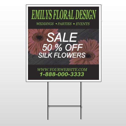 Black And Floral 496 Wire Frame Sign
