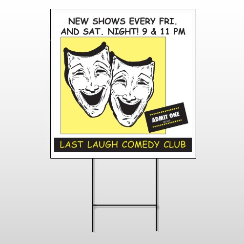 Comedy Mask 516 Wire Frame Sign