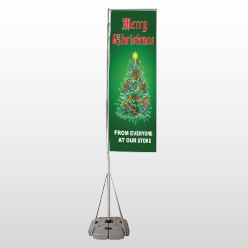 Merry Christmas 29 Exterior Flag Banner Stand