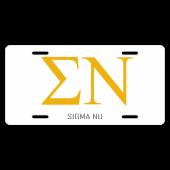 Sigma Nu License Plate
