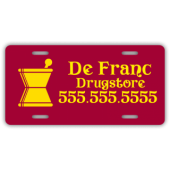 Drugstore License Plate