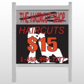 "Haircut Scissors 644 48""H x 48""W Site Sign"