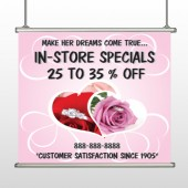 Pink Rose Hide Ring 400 Hanging Banner